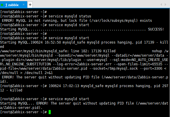 Starting MySQL… ERROR! The server quit without updating PID file